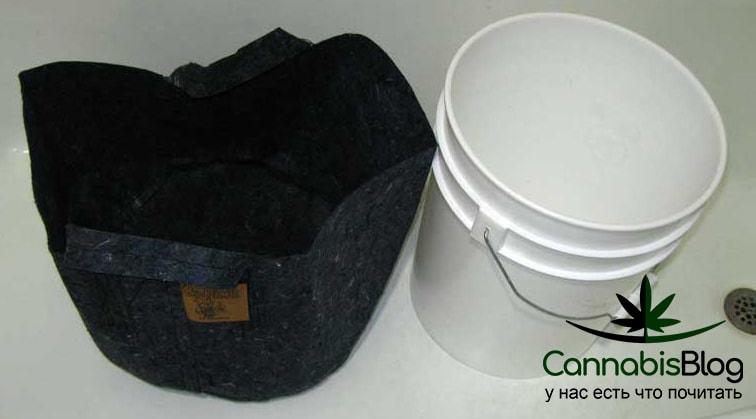 Контейнер из ткани и ведро для изготовления субстрата