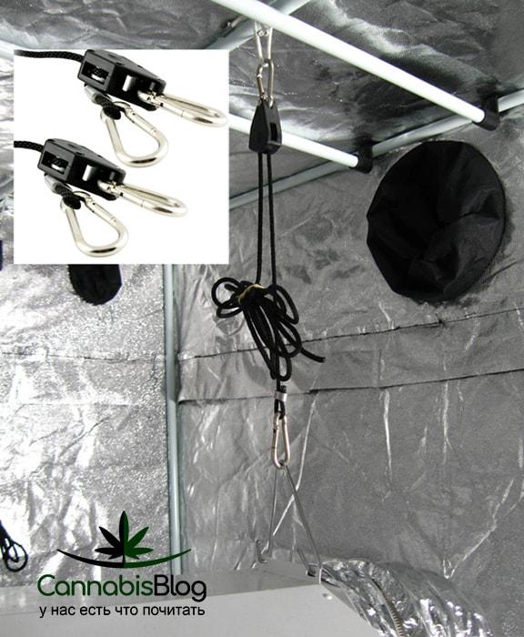 Фиксация вентиляции с помощью верёвки с карабином